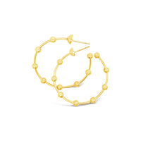 18k gold big wire hoop earring with balls