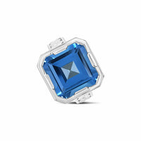 large sterling silver square cut blue topaz herringbone ring