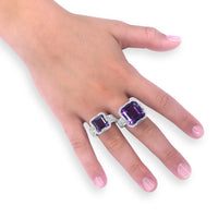 glamour amethyst cocktail rings in sterling silver