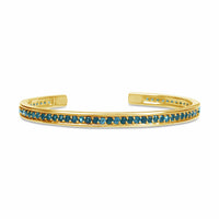18k gold pave blue topaz open back birthstone cuff