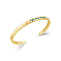 thin gold pave blue topaz birthstone open back cuff bracelet bangle