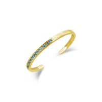 18k gold blue topaz open back cuff bracelet