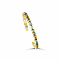 thin gold blue topaz birthstone split back bangle bracelet
