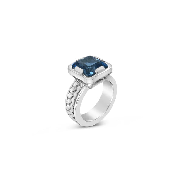 sterling silver square cut blue topaz herringbone woven ring