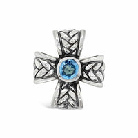 blue topaz cross ring