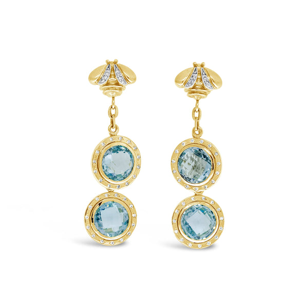 blue topaz drop earring with diamonds