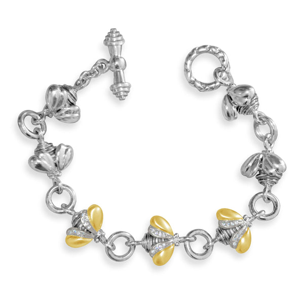 bee bracelet with gold and diamond wings