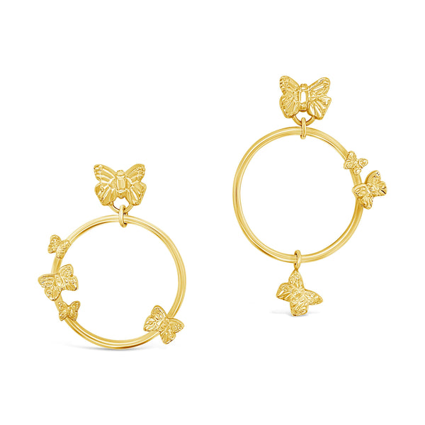 butterfly hoop earrings gold