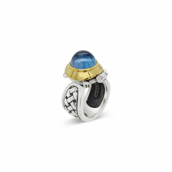 Cabochon Ring Turtle | Silver Gold Turtle Blue Topaz Cabochon Ring