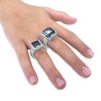 Large square blue topaz gemstone rings sterling silver