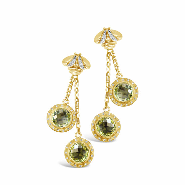 citrine and diamond drop earring