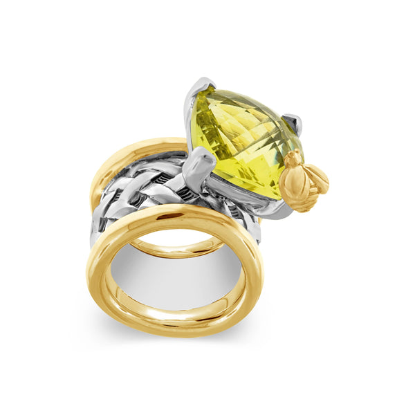 citrine ring gold with gold bee