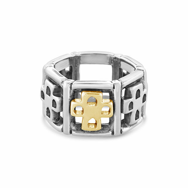 cross ring with gold cross