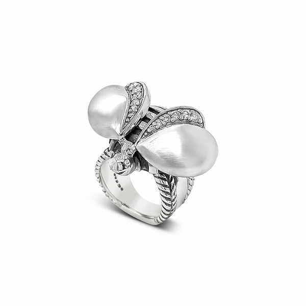 designer bee ring silver