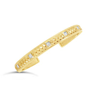 18k gold princess cut diamond woven herringbone cuff bracelet