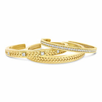 basket weave diamond cuff bracelet stack in 18k yellow gold