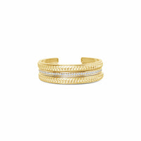 18k gold braided cuff bracelets with pave diamond cuff stack