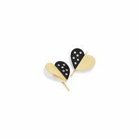 modern silver gold and diamond heart earring