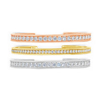 authentic diamond stack bracelets in 18k yellow rose and white gold