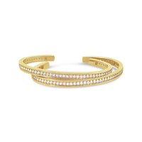 narrow 18k yellow gold diamond stacking cuff bracelets