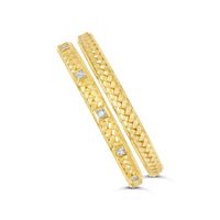 18k gold and diamond herringbone weave cuff bracelets