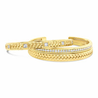 18k gold bracelet stack with diamond and woven cuff patterns