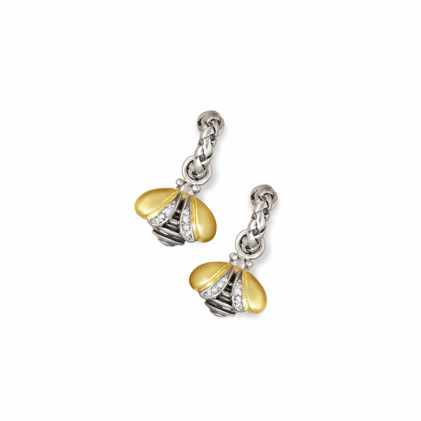Diamond Bee Drop Earrings | Gold & Silver Devora Dazzle Hoop Earrings