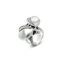 diamond bee ring sterling silver