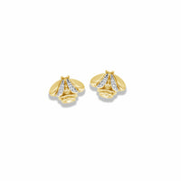 gold bee earrings with diamonds