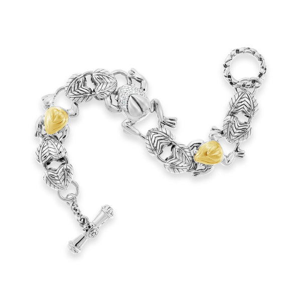 silver & gold frog bracelet w/ diamonds