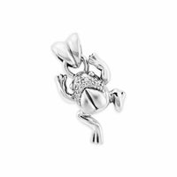 sterling silver frog pendant with diamonds