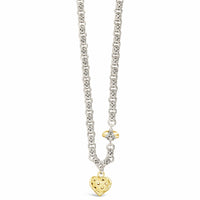 diamond heart bee necklace gold and silver