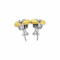 honey bee earrings with gold wings and diamond wings