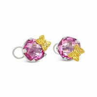 Pink Topaz Earrings | Gold And Silver Dancing Pink Butterfly Earrings