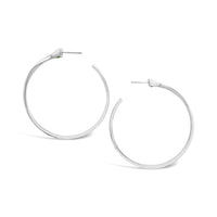 Large Sterling Silver Herringbone Hoop Earrings | Trenza Magna Hoops