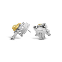 small frog earring with gold and silver