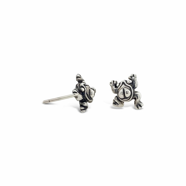 frog earrings sterling silver