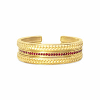narrow woven herringbone cuff bangles with rubies 18k gold