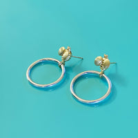 bee hoop earrings with gold bees