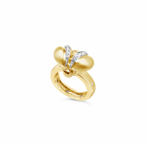 gold bee ring with diamond stack ring