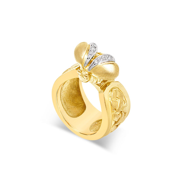 gold bee ring with diamonds