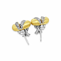 gold and diamond bee earrings