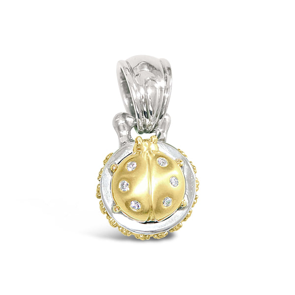 gold and diamond ladybug pendant