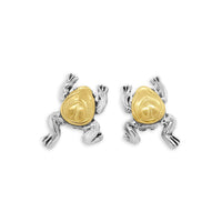 frog earrings sterling silver with gold