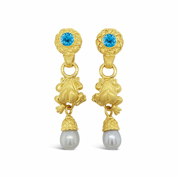 gold frog drop earrings with pearls
