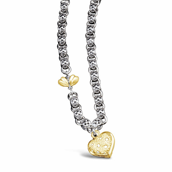 gold heart and bee necklace