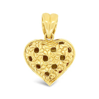 gold puffed heart pendant