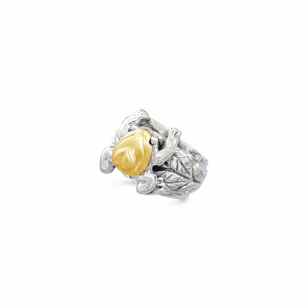 gold and silver frog ring