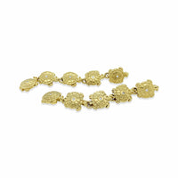 gold turtle linear drop earrings
