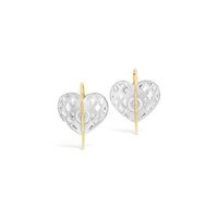 lattice pattern backside gold wire drop silver heart earrings